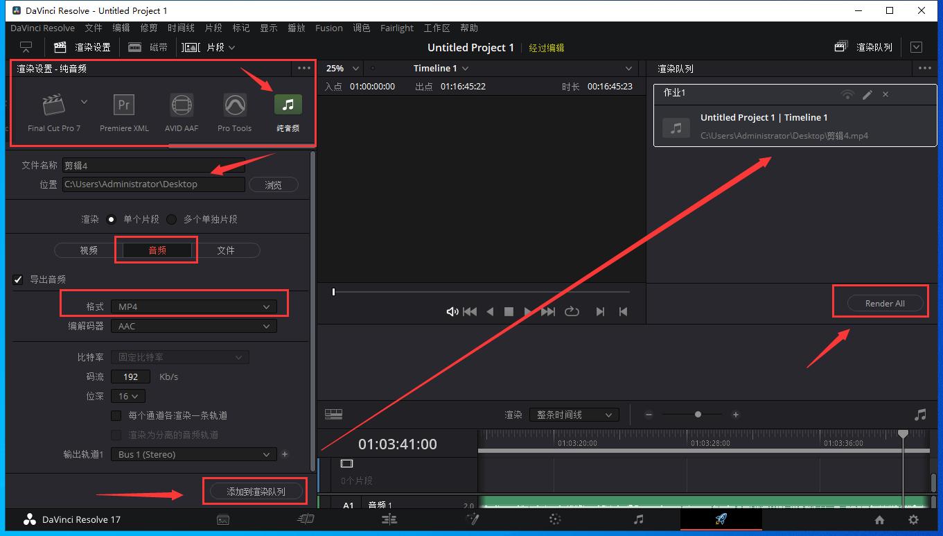 达芬奇DaVinci Resolve如何导出.mp4音频?